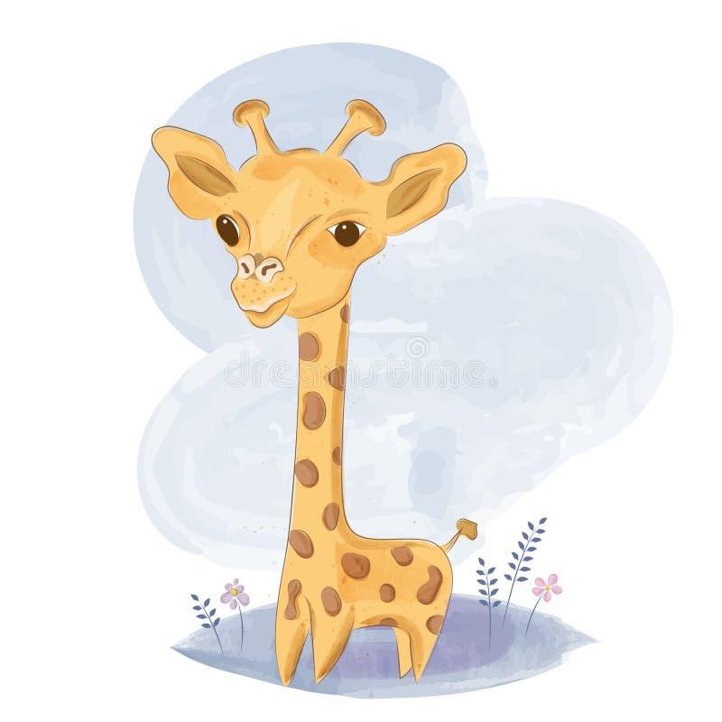 Милый жираф младенца на луге иллюстрация штока
