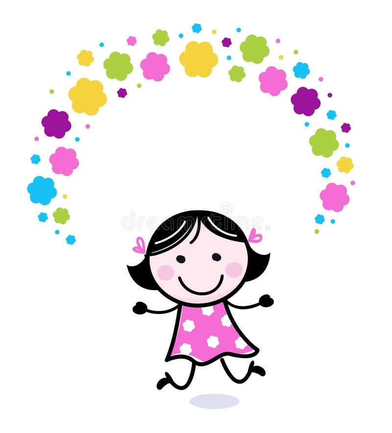 милый жонглировать девушки цветков doodle иллюстрация вектора