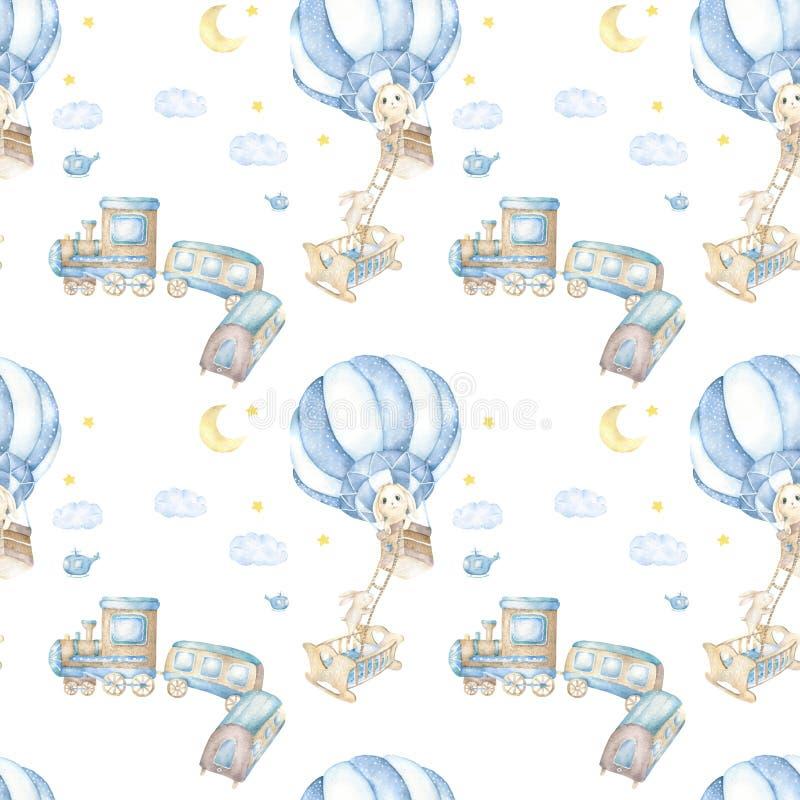 Милый зайчик акварели с airballoon и деревянным поездом День рождения открытка мультфильм, картина для печатей младенца, одежда,  бесплатная иллюстрация