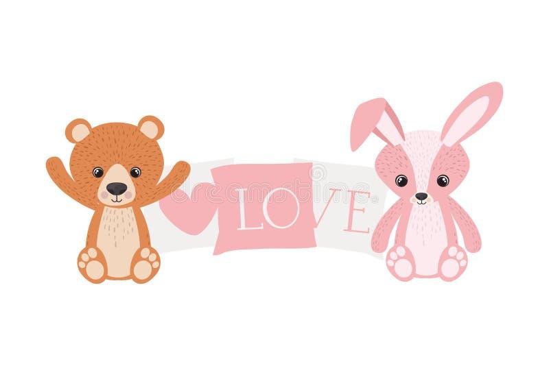 Милый зайчик и плюшевый мишка бесплатная иллюстрация