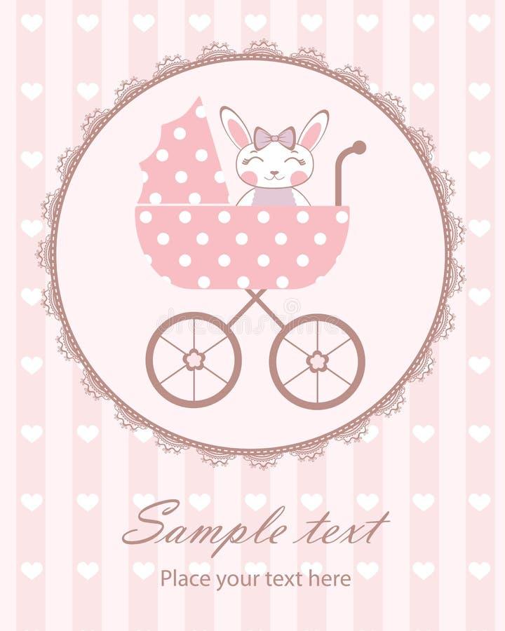 Милый зайчик младенца в pram бесплатная иллюстрация