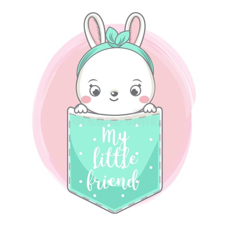 Милый зайчик моды сидит в кармане Кролик, зайцы смотря вне и оформление младенца мой маленький друг Иллюстрация вектора для моды иллюстрация вектора