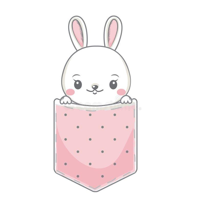 Милый зайчик сидит в кармане Меньший кролик, заяц смотря вне Иллюстрация вектора для печатей моды и детей, дизайна младенца бесплатная иллюстрация