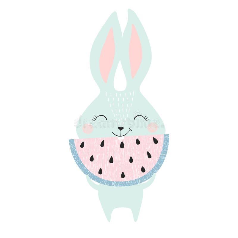 Милый зайчик с арбузом бесплатная иллюстрация