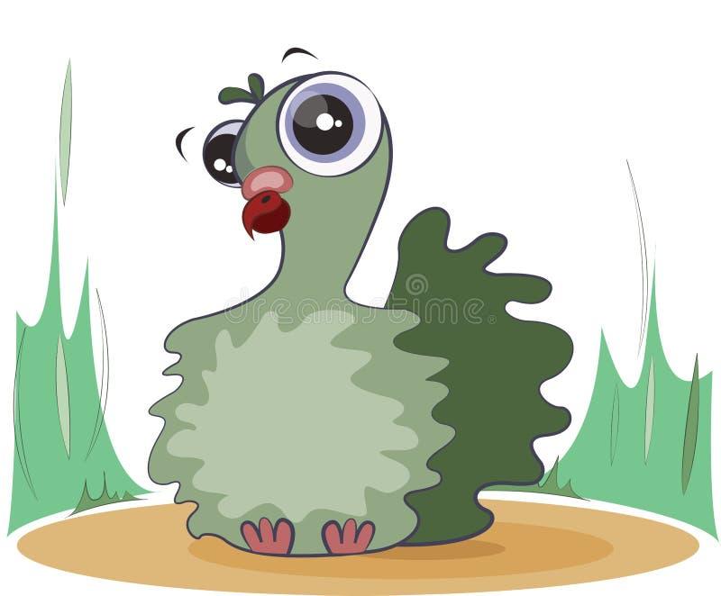 Милый зеленый голубь сидит на траве головка дерзких милых собак персонажа из мультфильма предпосылки счастливая изолировала белиз бесплатная иллюстрация
