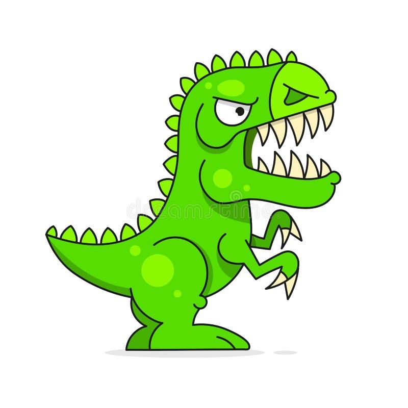 Милый зеленый динозавр изолированный на белой предпосылке Смешной персонаж из мультфильма бесплатная иллюстрация