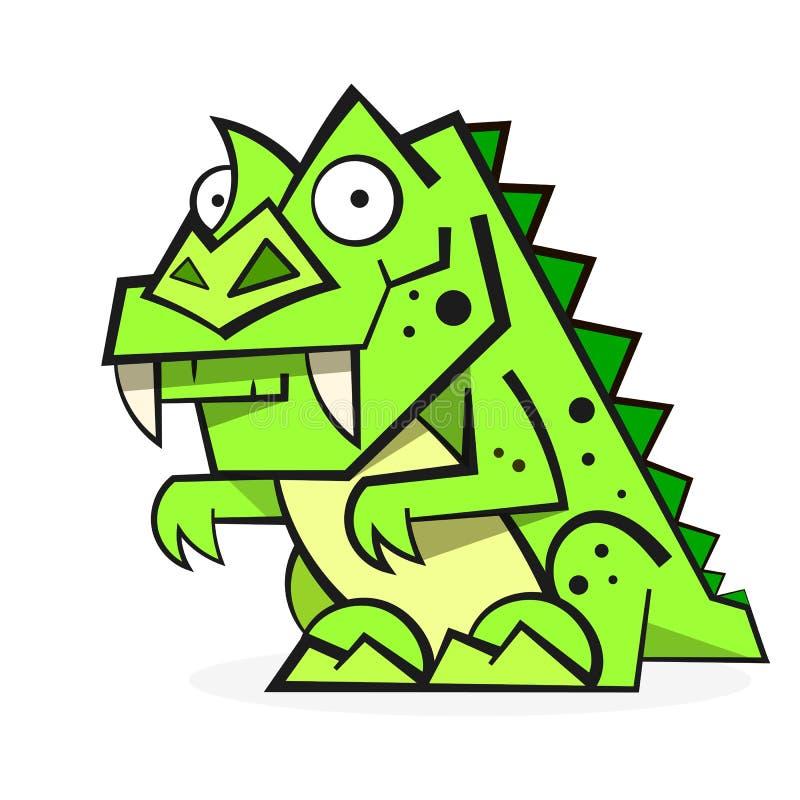 Милый зеленый динозавр изолированный на белой предпосылке Смешной персонаж из мультфильма иллюстрация штока