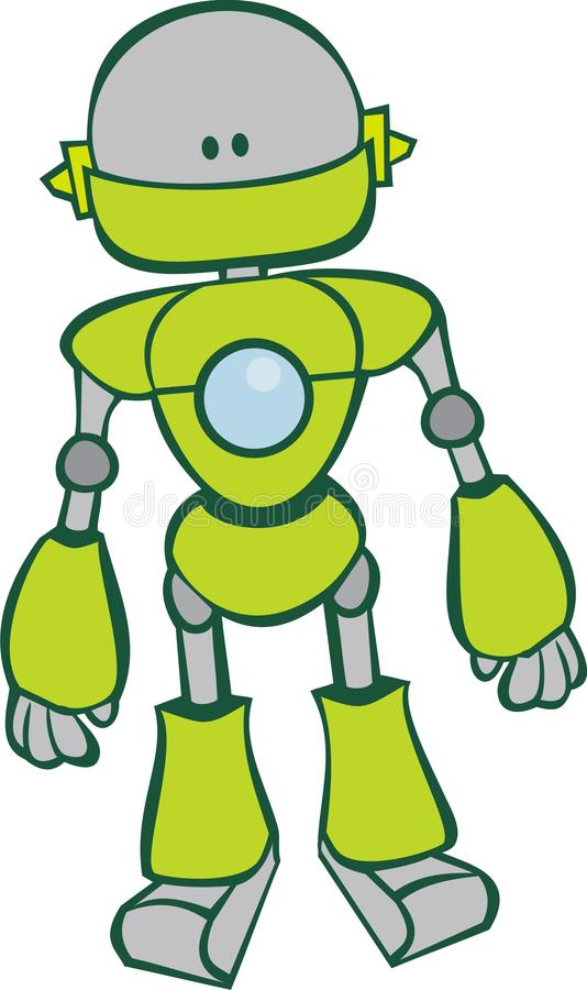 милый зеленый робот иллюстрация вектора