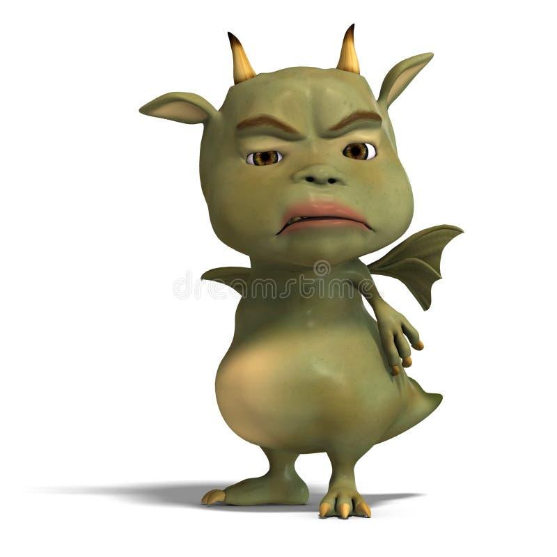 милый зеленый цвет маленький toon дракона дьявола иллюстрация вектора