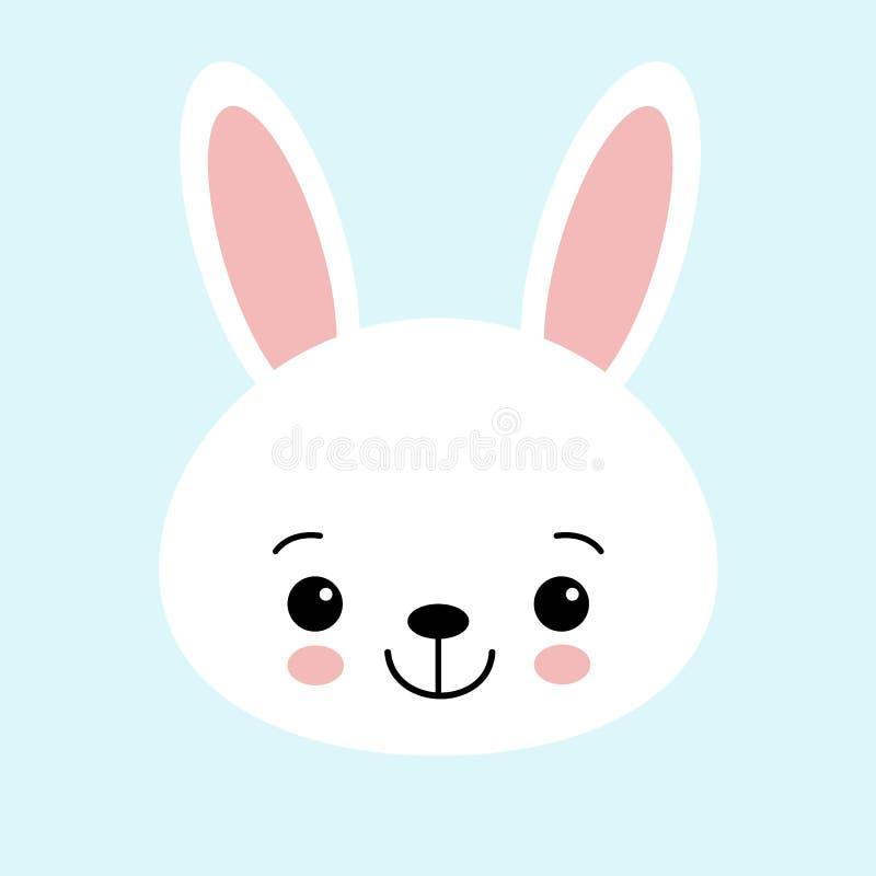 Милый значок векторной графики зайчика Голова белого кролика животная, иллюстрация стороны Изолировано на голубой предпосылке бесплатная иллюстрация