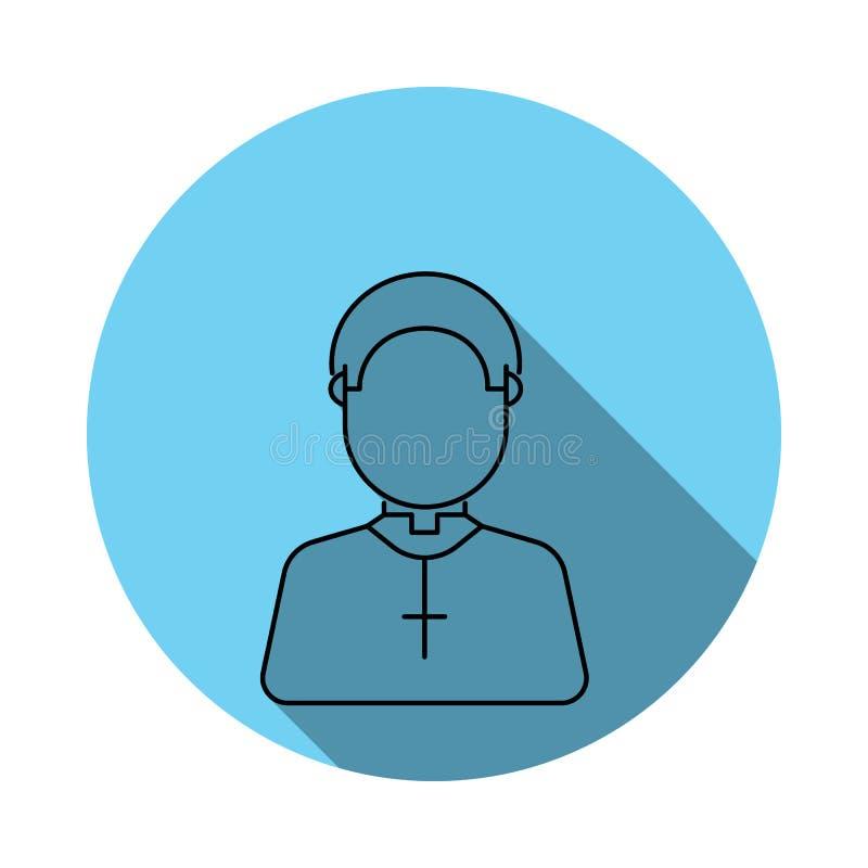 Милый значок воплощения священника Элементы воплощения в плоско сини покрасили значок Наградной качественный значок графического  иллюстрация вектора