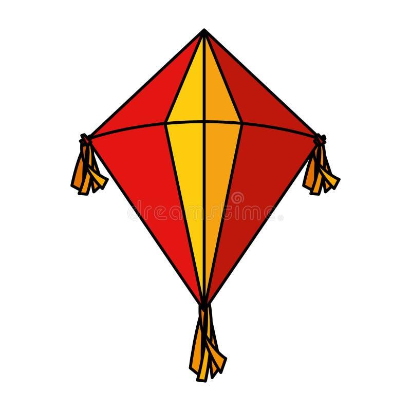 Милый значок летания змея иллюстрация вектора