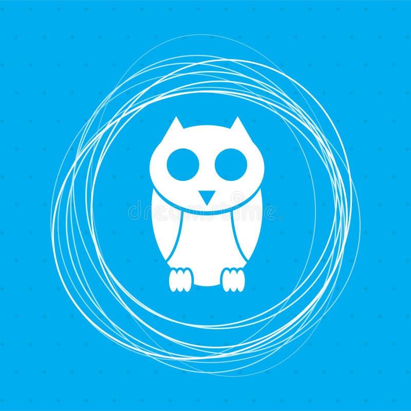 Милый значок персонажа из мультфильма сыча на голубой предпосылке с абстрактными кругами вокруг и местом для вашего текста иллюстрация вектора