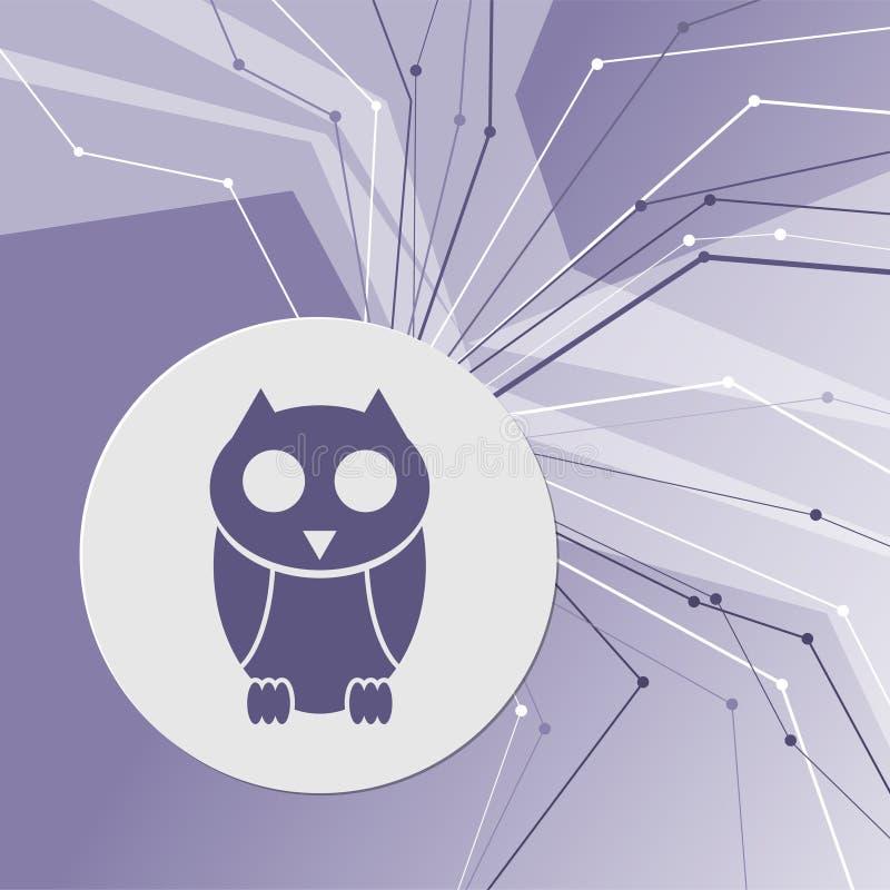Милый значок персонажа из мультфильма сыча на фиолетовой абстрактной современной предпосылке Линии во всех направлениях С комнато иллюстрация вектора