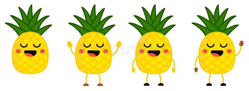 Милый значок плода ананаса стиля kawaii, глаза закрыл, усмехающся с открытым ртом Версия с поднятыми руками, вниз и развевать иллюстрация штока