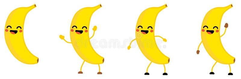 Милый значок плода банана стиля kawaii, глаза закрыл, усмехающся с открытым ртом Версия с поднятыми руками, вниз и развевать иллюстрация штока