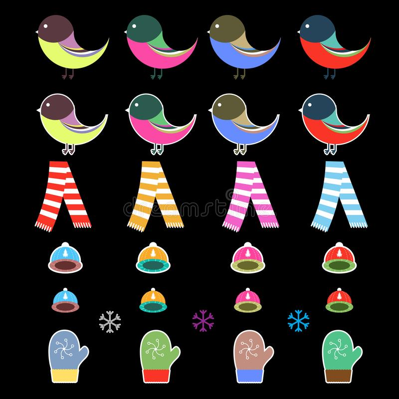 Милый значок рождества зимы установил в плоский стиль дизайна иллюстрация штока