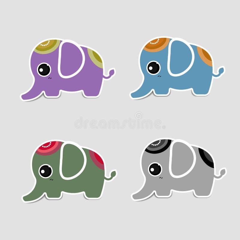 Милый значок слона с тенью иллюстрация штока