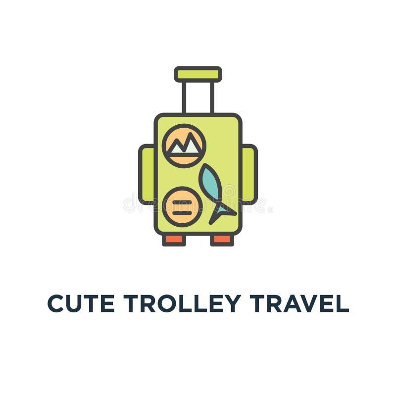 милый значок сумки багажа перемещения вагонетки багаж ручки со стикерами от различных каникул, приключения или летних каникулов,  иллюстрация штока