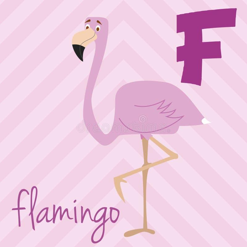 Милый зоопарк шаржа проиллюстрировал алфавит с смешными животными: F для фламинго бесплатная иллюстрация