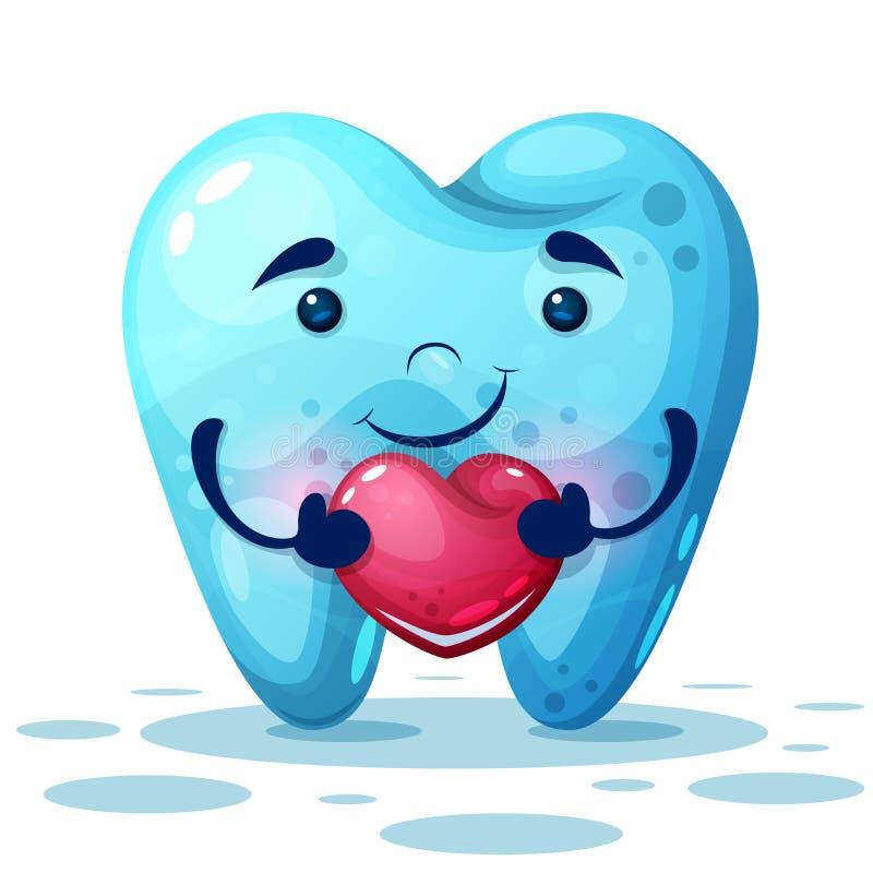 Милый зуб мультфильма с розовым сердцем иллюстрация штока