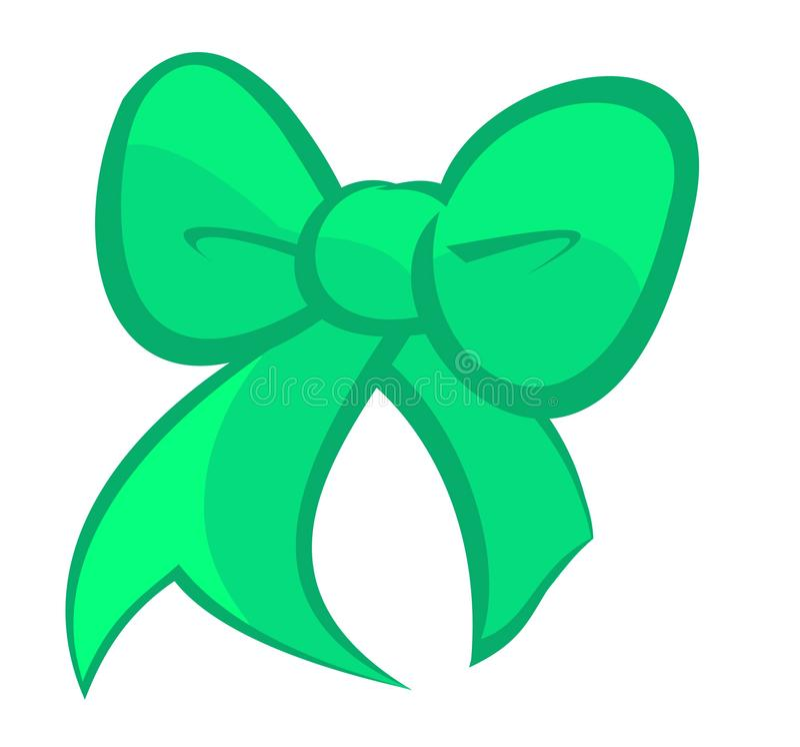 Милый изумрудно-зеленый смычок иллюстрация вектора