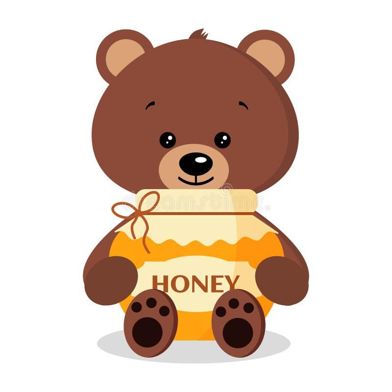 Милый и сладкий дикий бурый медведь с опарником очень вкусного свежего меда изолированного на белой предпосылке иллюстрация вектора