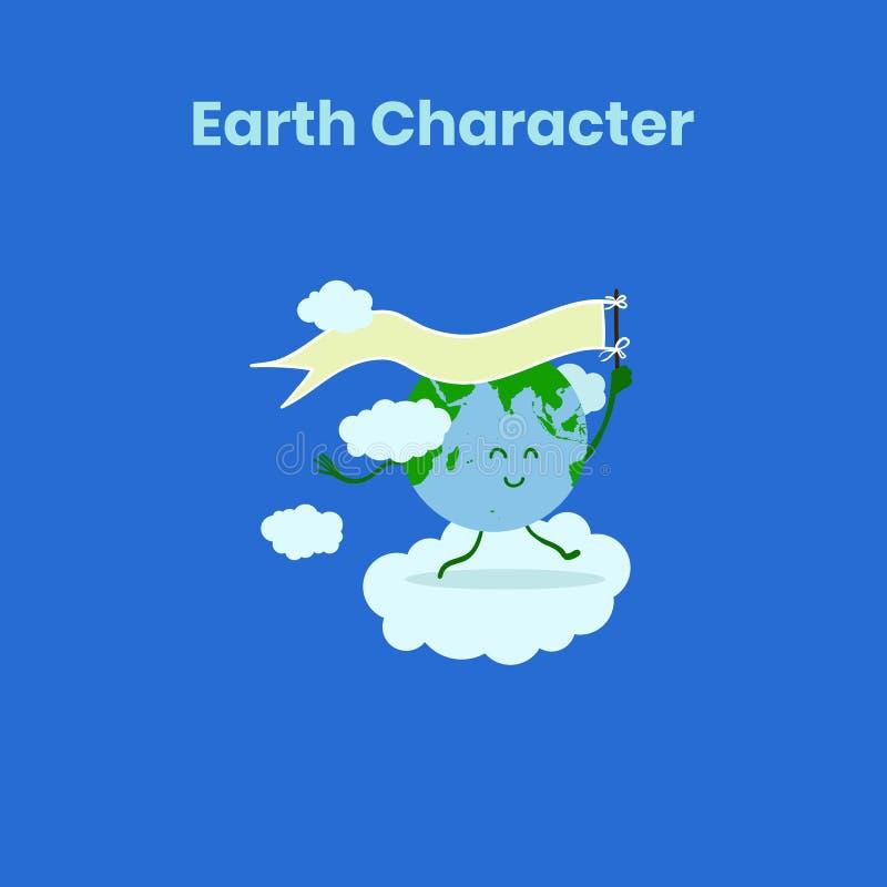 Милый и смешной характер земли с флагом на день земли иллюстрация вектора