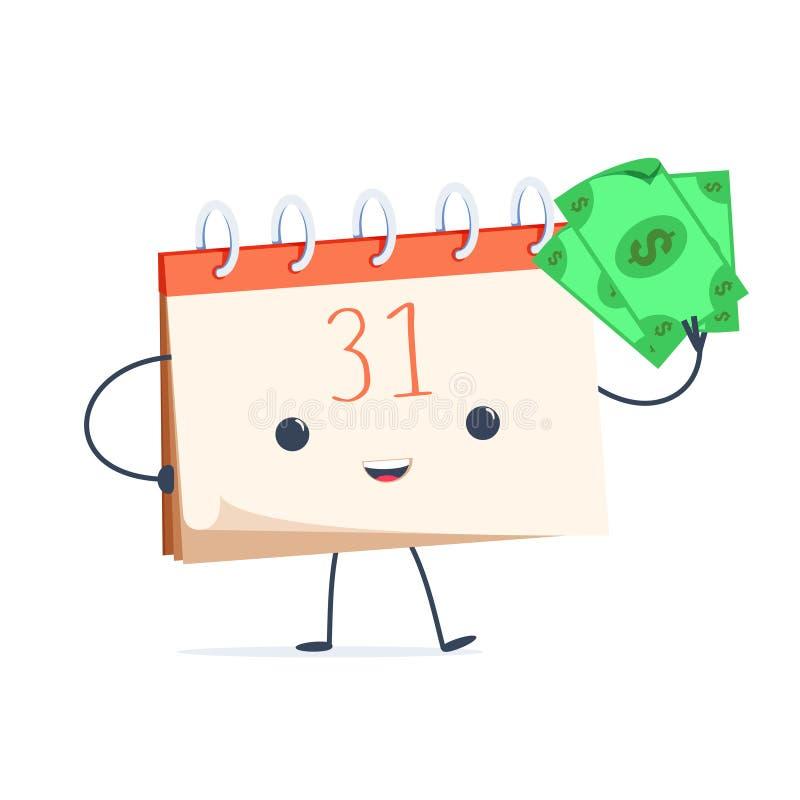 Милый календарь шаржа с деньгами Конец зарплаты и зарплаты месяца Время оплатить концепцию бесплатная иллюстрация