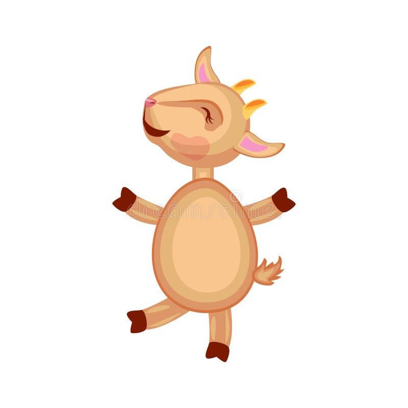Милый козерог вектора шаржа, коза, ягнится отечественный счастливый ход животного изолированная на белизне, млекопитающем фермера бесплатная иллюстрация