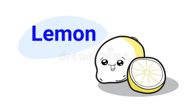 Милый комический персонаж мультфильма лимона с усмехаясь руки kawaii emoji стороны едой свежих фруктов стиля счастливой вычерченн иллюстрация штока
