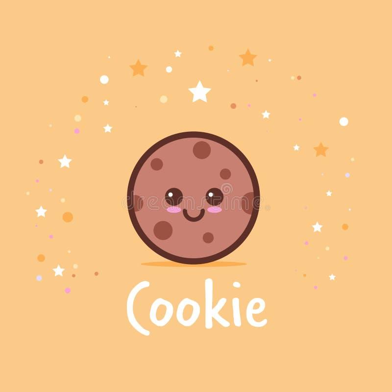 Милый комический персонаж мультфильма печений обломока с усмехаясь стиля kawaii emoji стороны десертом печенья счастливого сладки иллюстрация штока