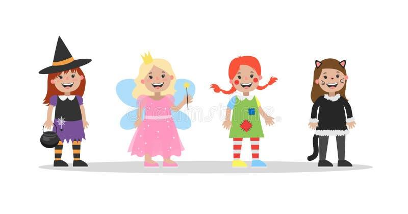 Милый комплект костюмов хеллоуина для детей бесплатная иллюстрация