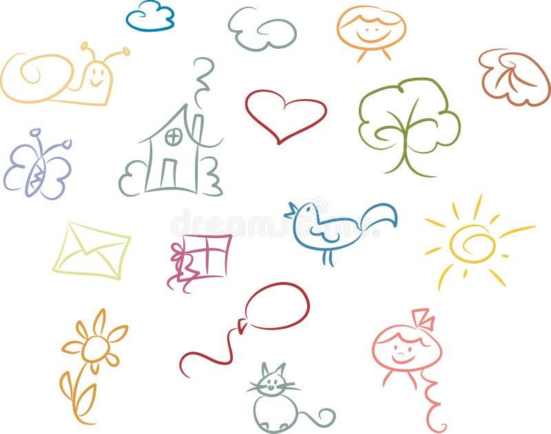 милый комплект doodle иллюстрация вектора