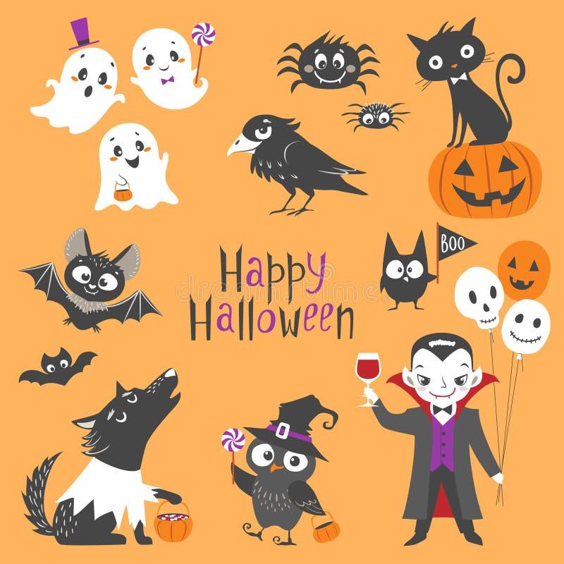 Милый комплект Halloween иллюстрация штока
