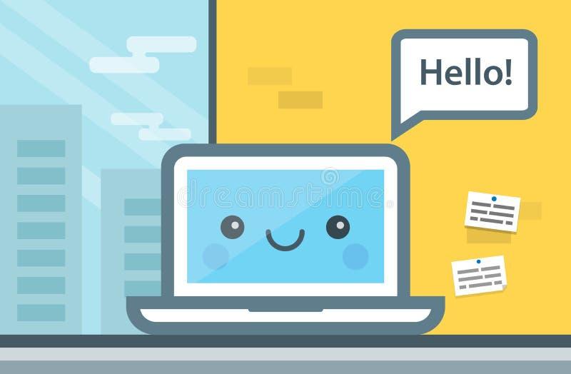 Милый компьютер шаржа говоря здравствуйте! Концепция связи, онлайн послание Плоская иллюстрация вектора дизайна современного иллюстрация штока