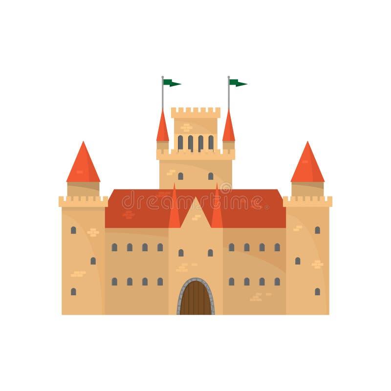 Милый коричневый средневековый замок с красной керамической крышей иллюстрация вектора