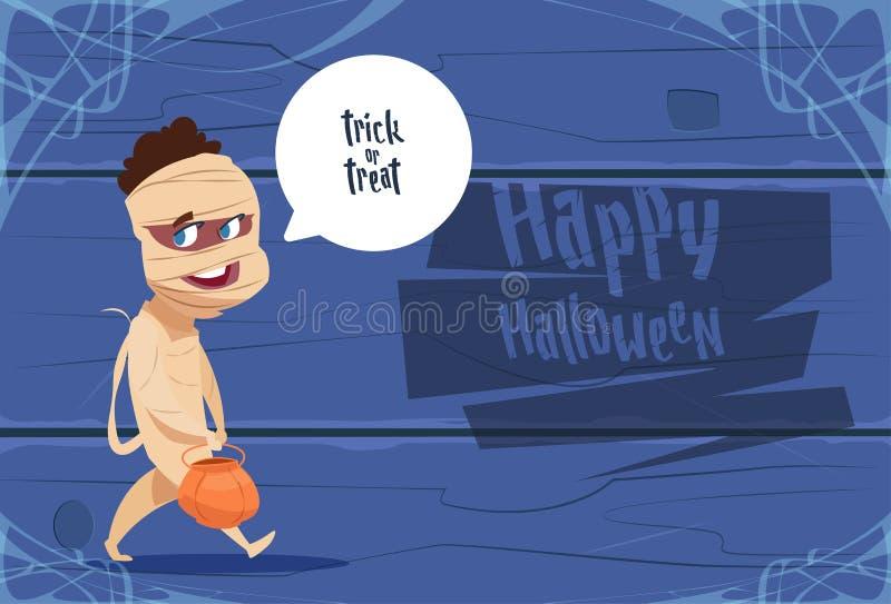 Милый костюм мумии носки ребенк, счастливая концепция торжества партии знамени хеллоуина иллюстрация вектора