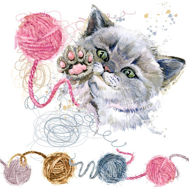 Милый котенок и шарик иллюстрации акварели потоков шерстей иллюстрация вектора