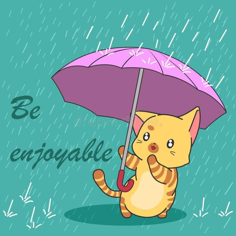 Милый кот в сезоне муссона бесплатная иллюстрация