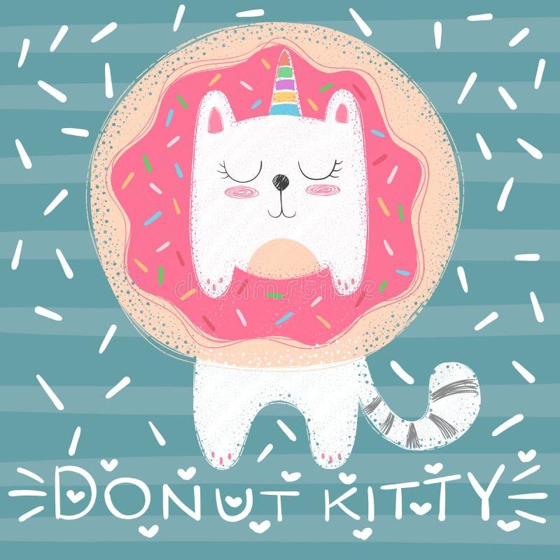 Милый кот единорога - смешная иллюстрация иллюстрация вектора