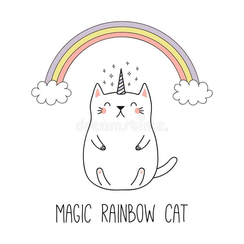Милый кот единорога иллюстрация вектора