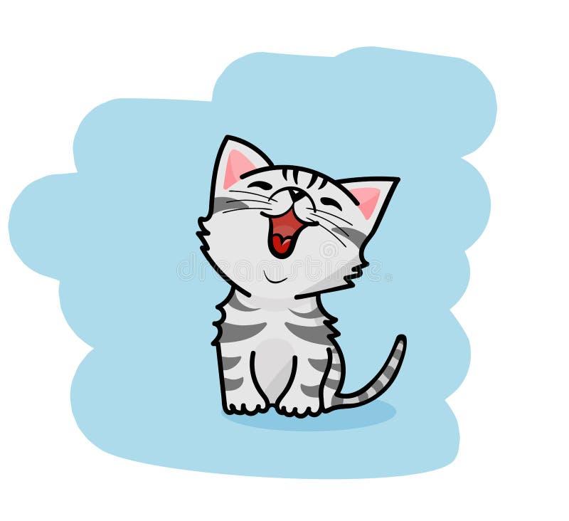 Милый кот мультфильма сидя и усмехаясь иллюстрация штока