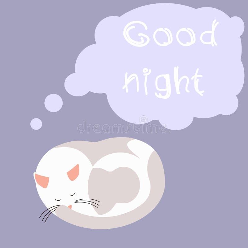 Милый кот мультфильма спать и желая спокойную ночь бесплатная иллюстрация