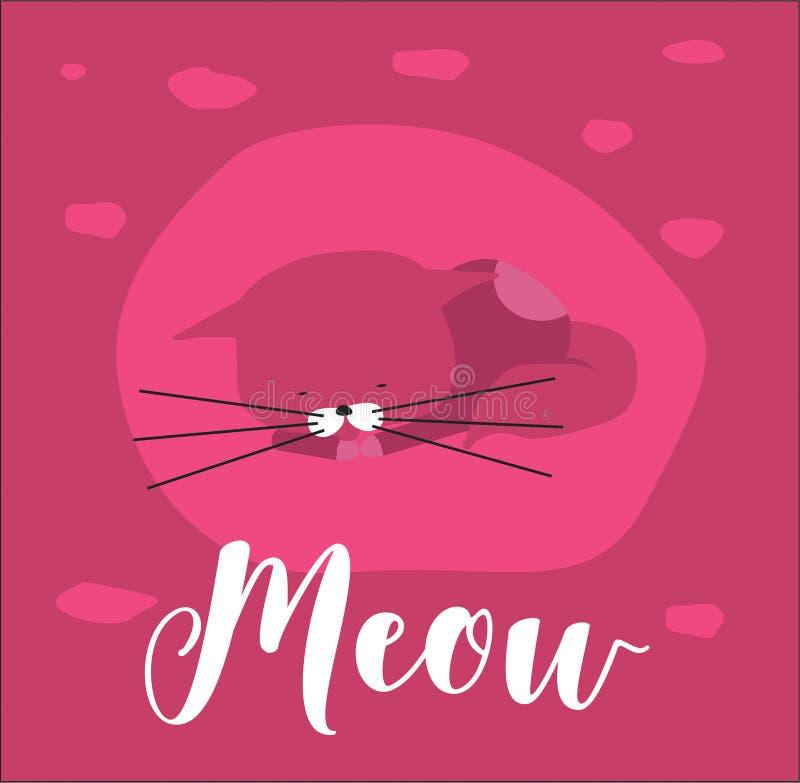 Милый кот пинка вектора, при длинные вискеры, спать, на яркой розовой предпосылке иллюстрация штока