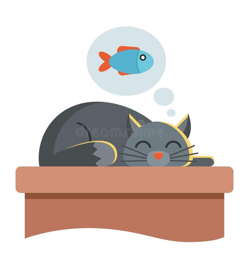 Милый кот спит на таблице он мечтает рыб и он хочет есть иллюстрация вектора
