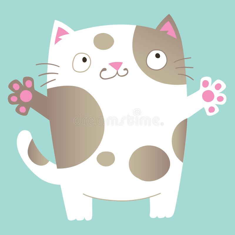 Милый кот шаржа прося объятие иллюстрация вектора