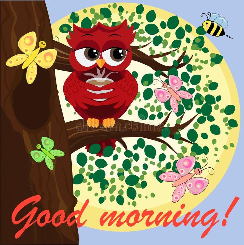 Милый красивый кокетливый красный сыч на ветви с чашкой испаряться кофе, чай или шоколад иллюстрация вектора