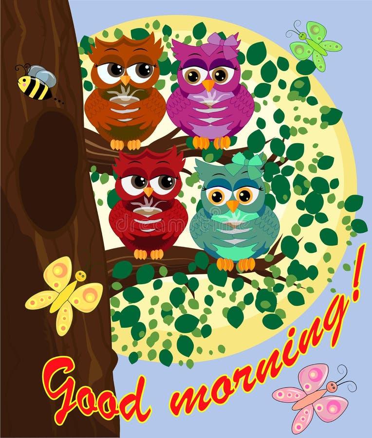 Милый красивый кокетливый красный сыч на ветви с чашкой испаряться кофе, чай или шоколад бесплатная иллюстрация