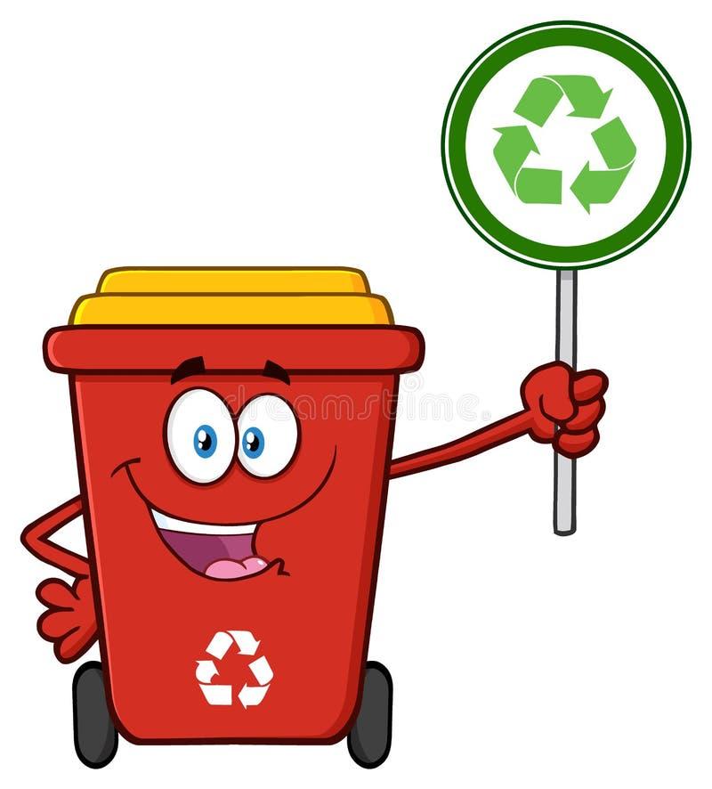 Милый красный характер талисмана шаржа мусорной корзины держа знак рециркулировать иллюстрация вектора